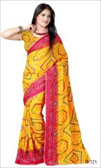 Styloce Yellow Color Crepe Printed Casual Deasigner Saree With Blouse-(Code-STY-8846)
