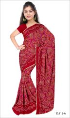 Styloce Red Color Crepe Printed Casual Deasigner Saree With Blouse-(Code-STY-8850)