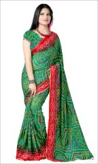 Styloce Green Color Crepe Printed Casual Deasigner Saree With Blouse-(Code-STY-8852)