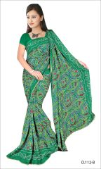 Styloce Green Color Crepe Printed Casual Deasigner Saree With Blouse-(Code-STY-8856)