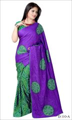 Styloce Blue Color Crepe Printed Casual Deasigner Saree With Blouse-(Code-STY-8858)