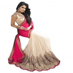 Styloce Georgette Machine Work Pink & Cream Half & Half Saree - 8956