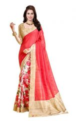 Styloce Printed Art Silk Saree- Orange
