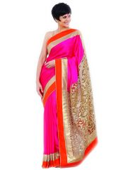 Styloce Pink Georgette Designer Saree With Unstitched Blouse