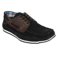Guava Leather Black Boat Shoes for Men - Product Code (GV15JA224)