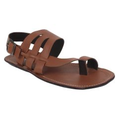 "Guava Men""s Brown Leather Sandals - (Product Code - GV15JA361)"