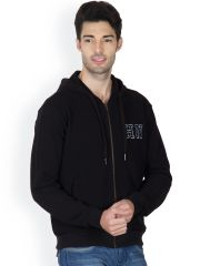Hypernation Black Color Full Sleeves Hooded Sweat Shirt For Men
