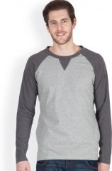 Hypernation Grey Full Sleeve Round Neck T-shirt