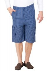 Hypernation Blue and Black Check Cotton Three Fourth For Men