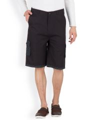 Hypernation Black 3/4th Cotton Shorts HYPM0397