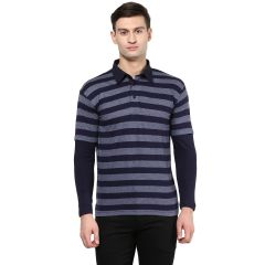 Hypernation Striped Men Polo Neck T-shirt