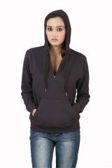 Hypernation Navy Blue Color Long Sleeves Sweat Shirt With Hood