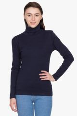 Hypernation Black Turtle Neck Cotton T-shirt
