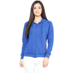 Hypernation Royal Blue Color Front Open Cotton Jacket For Women.