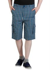 Hypernation Blue Color Check Three Fourth For Men. Made By Cotton