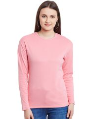 Hypernation Pink Long Sleeves Round Neck Cotton T-Shirt  HYPW0977