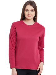 Hypernation Hot Pink Long Sleeves Round Neck Cotton T-Shirt  HYPW0975