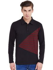 Hypernation Black Full Sleeves Polo T-Shirt With Red Stripe
