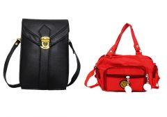 Estoss Buy 1 Get 1 - Black Mobile/Tab Sling Bag And Red Sling Bag For Gift HCMB1011