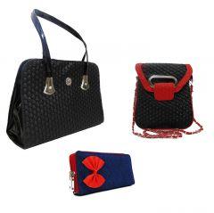 Estoss Set Of 3 Handbag Combo - Black Handbag, Black Sling & Blue Clutch- HCMB1020