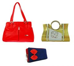 Estoss Set Of 3 Handbag Combo - 1 Red Formal Handbag, 1 Golden Party Clutch Purse & 1 Blue Denim Clutch Purse- HCMB1027