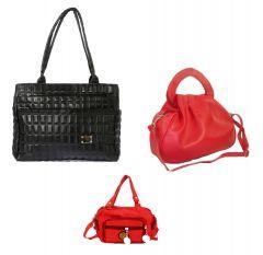 Estoss Set Of 3 Handbag Combo - 1 Black Formal Handbag, 1 Red Hand Sling Bag & 1 Red Sling Bag- HCMB1030