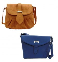 Estoss Buy 1 Get 1 - Brown Sling Bag And Blue Sling Bag For Gift HCMB1028