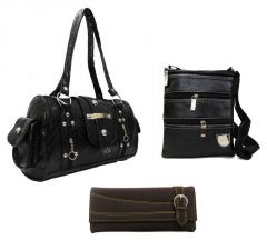 Estoss Set Of 3 Handbag Combo - 1 Black Formal Handbag, 1 Black Sling Bag & 1 Brown Clutch Purse- HCMB1035