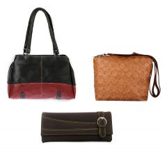 Estoss Set Of 3 Handbag Combo - 1 Black Formal Handbag, 1 Brown Sling Bag & 1 Brown Clutch Purse- HCMB1037