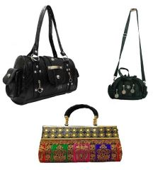Shop or Gift Estoss Set of 3 Handbag Combo - Black Handbag, Multicolor Clutch & Black Sling Pouch Online.