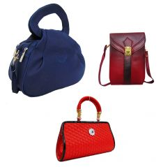 Estoss Set Of 3 Handbag Combo - 1 Blue Sling Bag, 1 Maroon Sling Bag & 1 Red Party Clutch Purse- HCMB1043