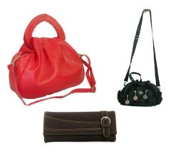 Estoss Set Of 3 Handbag Combo - 1 Red Handbag, 1 Black Sling Bag & 1 Brown PU Clutch HCMB2007