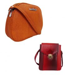 Estoss Buy 1 Get 1 - Brown Sling Bag And Maroon Sling Bag For Gift