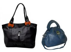 Estoss Buy 1 Get 1  - Black Handbag & Blue Hand-Purse cum Sling Bag