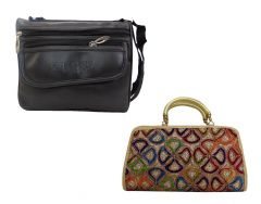 Estoss Buy 1 Get 1 - Black  Sling Bag And Yellow Clutch Combo Of 3