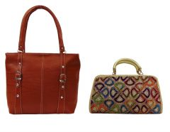 Casual Bags - Estoss Brown Handbag and Yellow Clutch Combo of 2
