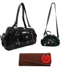 Estoss Black Handbag, Black Multi-Pocket Sling Pouch & Brown Wallet - Combo Of 3