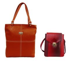 Estoss Brown Handbag And Maroon Sling Bag Combo Of 2