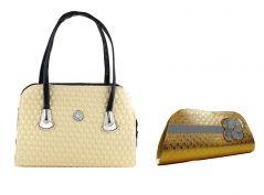 Estoss Beige Handbag And Gold  Party Clutch Combo Of 3