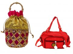 Estoss Pink Potli And Red Sling Bag Combo Of 2