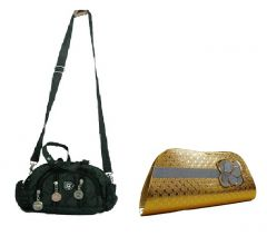 Estoss Black Multi-Pocket Sling Bag And Gold  Party Clutch Combo Of 2
