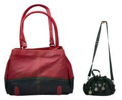 Estoss Buy 1 Get 1 - Red Shoulder Handbag And Black Multi-Pocket Sling Bag For Gift HCMB2000
