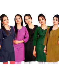 Shop or Gift Grj India Set Of 5 Solids Cotton Kurti Online.