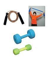 Aquafit Stretch Band   Skipping Rope   Pvc Dumbell 2 Kgs 1 Kgs X 2
