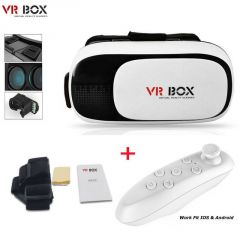 Mobile Accessories (Misc) - 3d Vr Box Virtual Reality Glasses Headset For Movies & Games With Bluetooth Remote