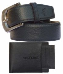 Sondagar Arts Formal Black Non Leather Belt, Black Wallet For Men Combo