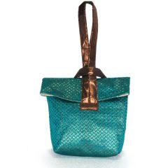 Arabian Nights Japanese Style Green Nylon Handbag With Brocade Handle (Product Code - AN-JBAG-G)