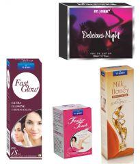 St.John-Vijohn Women Care Kit (Hair Remover Rose & Fast Glow Fairness Cream & Body Butter & Perfume Delious Night)-(Code-VJ454)