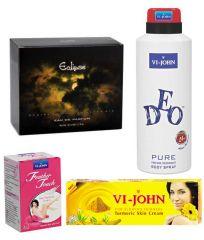 St.John-Vijohn Women Care Kit (Hair Remover Rose & Turmeric Cream Fairness Cream & Deo VIJOHN Pure & Perfume Eclips)-(Code-VJ458)