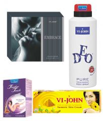 St.John-Vijohn Women Care Kit (Hair Remover Honey/Saffron & Turmeric Cream Fairness Cream & Deo VIJOHN Pure & perfume EMBRACE)-(Code-VJ461)